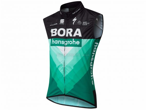 Sportful Bora Hansgrohe Pro Wind Gilet L, Black, Green, 147g, Sleeveless, Polyester