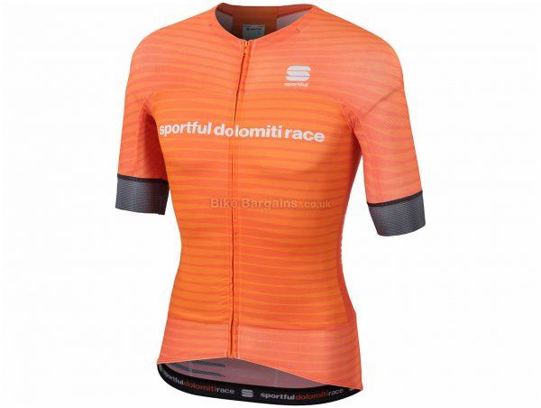 Sportful SDR BodyFit Evo Short Sleeve Jersey L, Orange, Short Sleeve, Polyester, Elastane