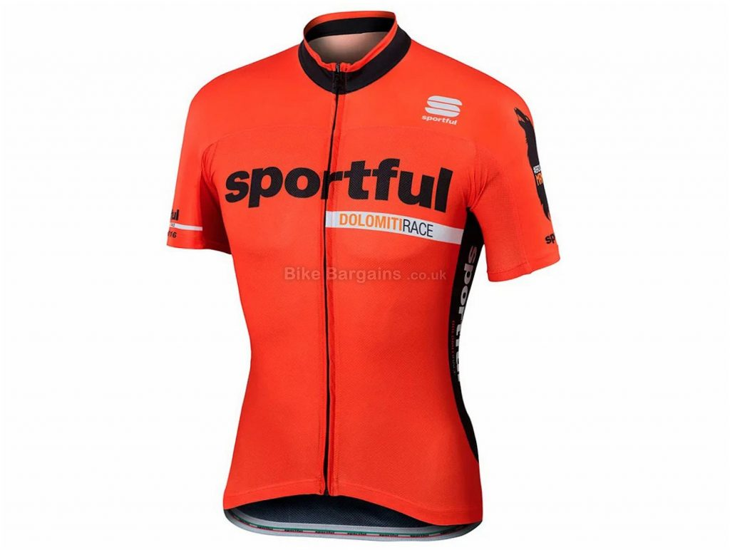Sportful SP Dolomiti Short Sleeve Jersey XS, Orange, Black, Short Sleeve, Polyester