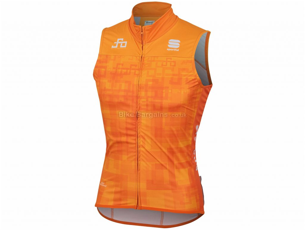 Sportful Sagan Logo BodyFit WS Gilet M, Black, Grey, 136g, Sleeveless, Polyester, Elastane