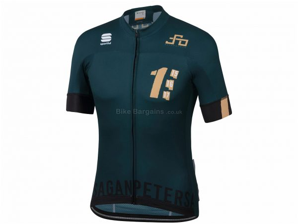 Sportful Sagan One BF Team Short Sleeve Jersey L, Green, Gold, Short Sleeve, Polyester, Elastane