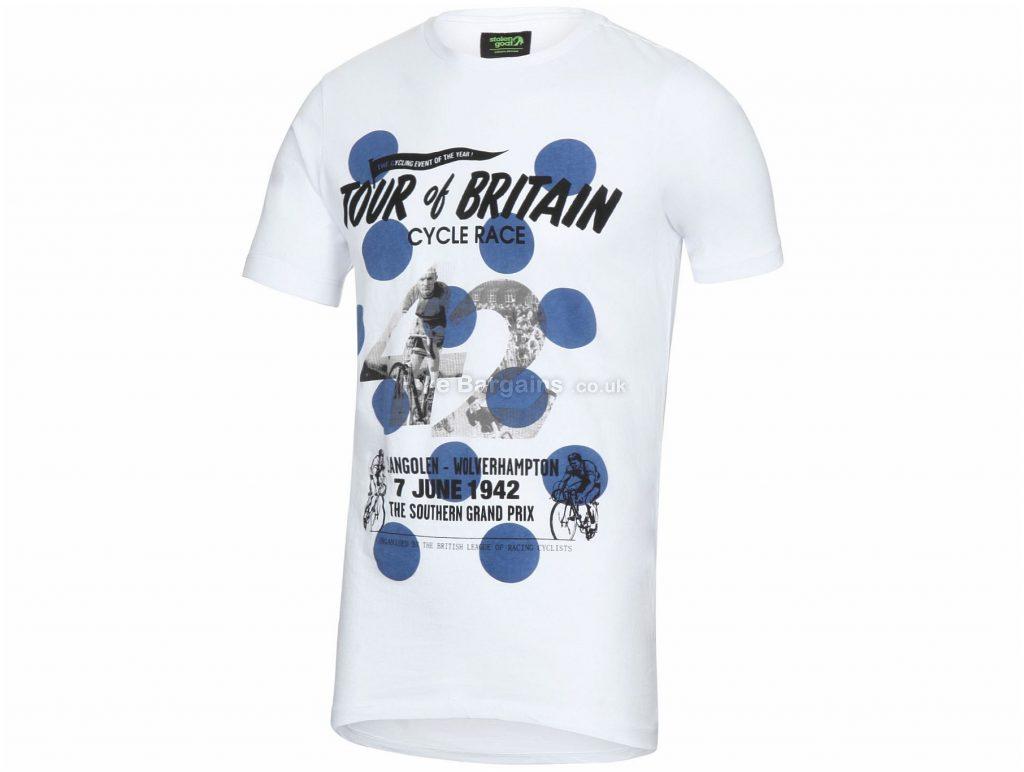 Stolen Goat Hopper T-Shirt S, White, Blue, Short Sleeve, Men's, Cotton