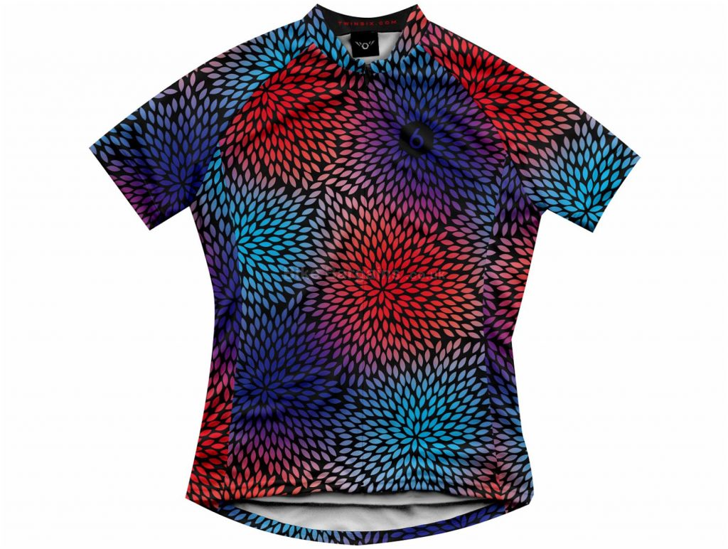 Twin Six Ladies The Pedal Power Short Sleeve Jersey XS, Black, Red, Blue, Purple, Polyester, Short Sleeve
