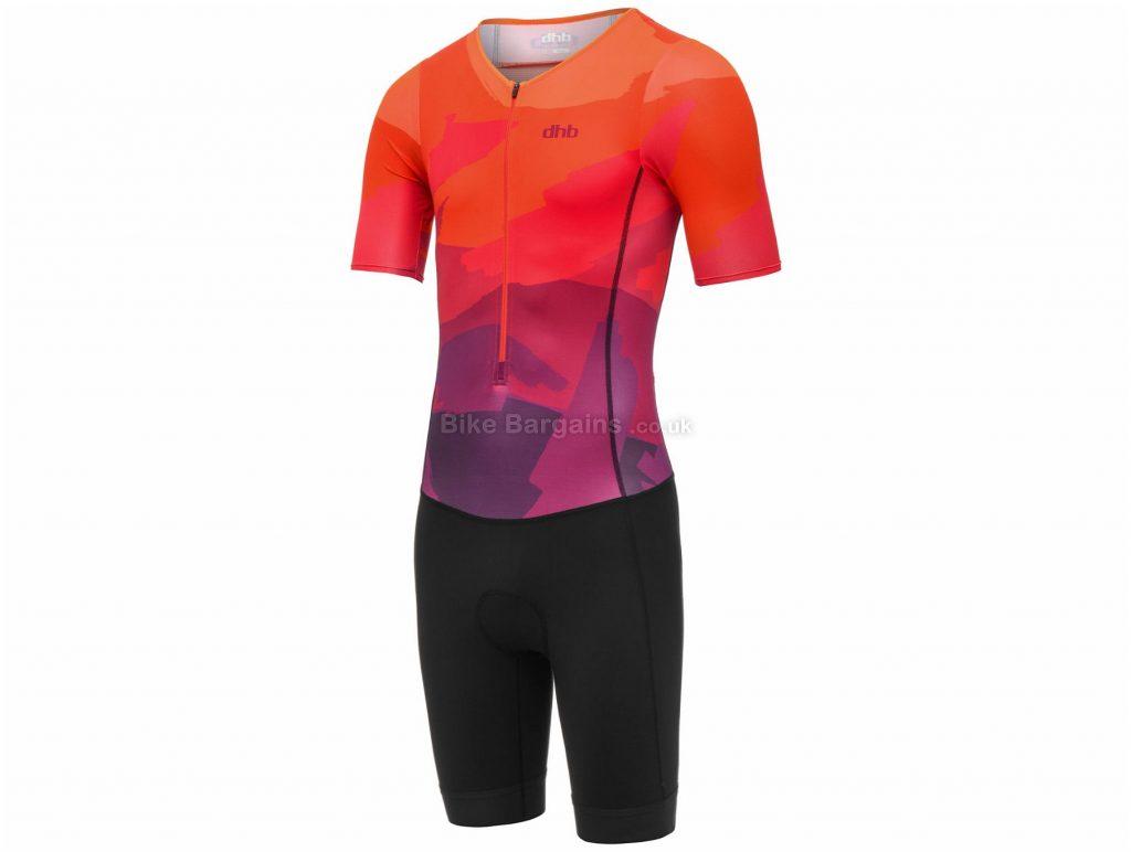 dhb Blok Sunset Short Sleeve Tri Suit S, Black, Pink, Orange, Men's, Short Sleeve, Polyamide, Elastane