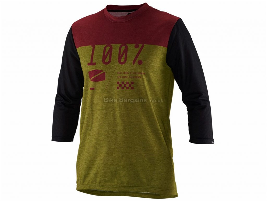100% Airmatic 3/4 Sleeve Jersey L,XL, Green, Brown, Black, 3/4 Sleeve, Polyester