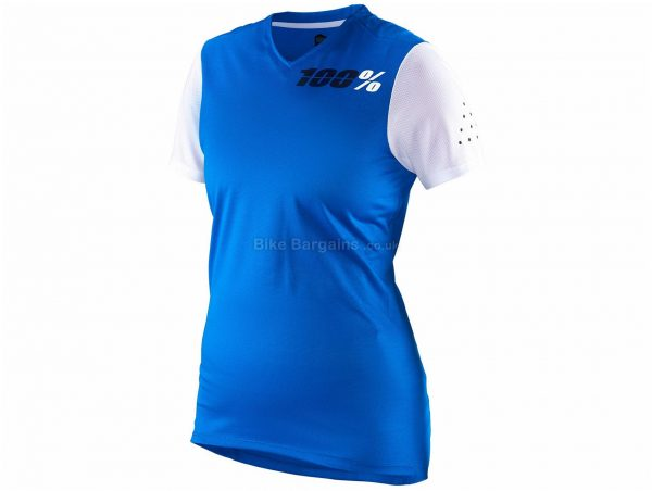 100% Ladies RideCamp Short Sleeve Jersey L, White, Short Sleeve, Polyester