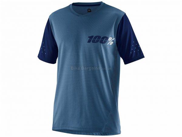 100% RideCamp Short Sleeve Jersey S, Blue, Short Sleeve, Men's, Polyester