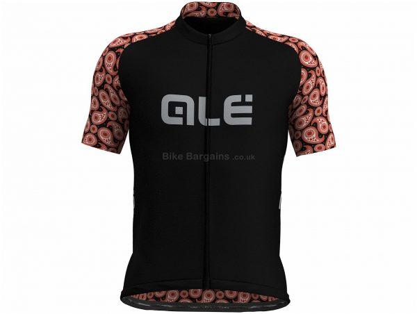 Ale Prime Paisley Print Short Sleeve Jersey XL, Black, Orange, Short Sleeve, Men's, Polyester
