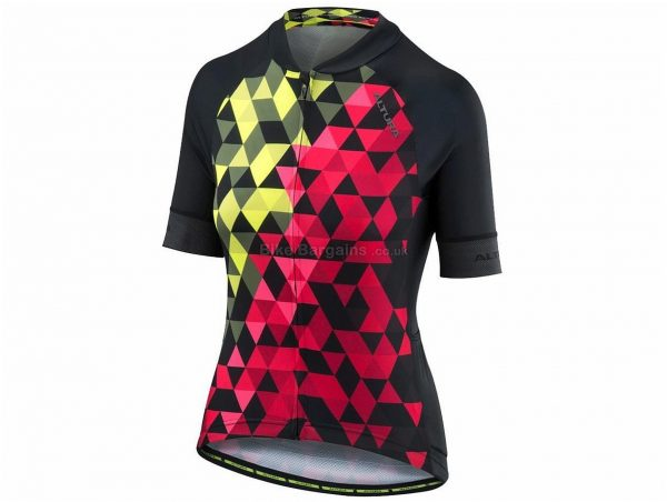 Altura Peloton Mosaic Ladies Short Sleeve Jersey 8, Black, Yellow, Red, Short Sleeve, Ladies, Polyester & Elastane