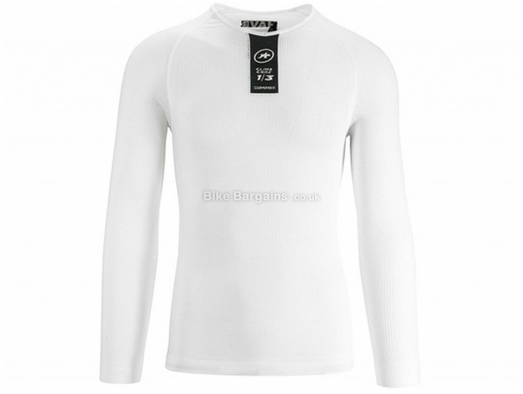Assos Skinfoil Long Sleeve Base Layer XS,S, White, Men's, Long Sleeve, Polyester, Elastane