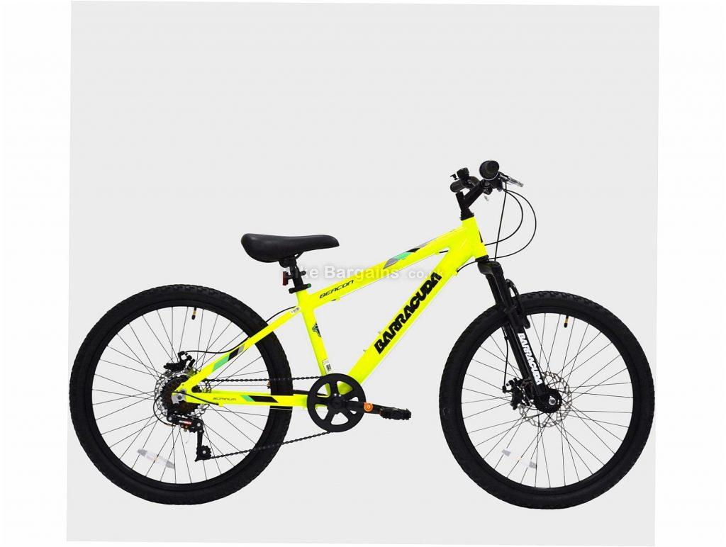 "Barracuda 24"" Beacon Kids Alloy Mountain Bike One Size, Yellow, Black, 24"", Disc Brakes, 7 Speed, Single Chainring, Hardtail, Alloy"