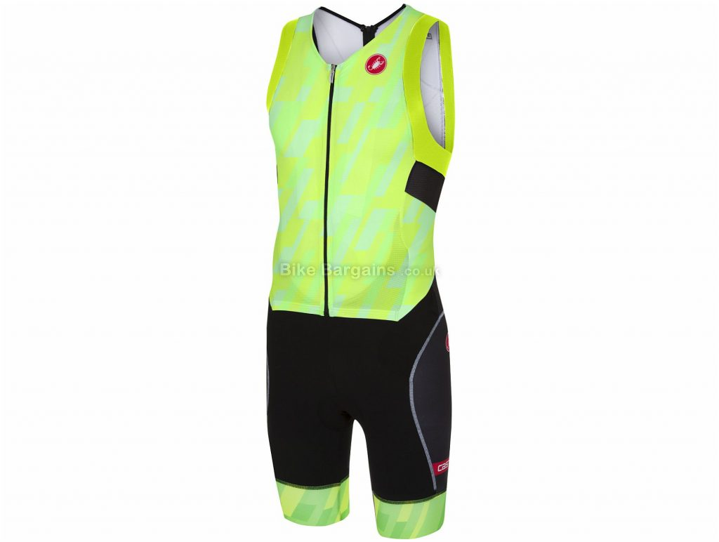 Castelli Free San Remo Sleeveless Trisuit XXL, Yellow, Black, Men's, Sleeveless, Polyester, Elastane