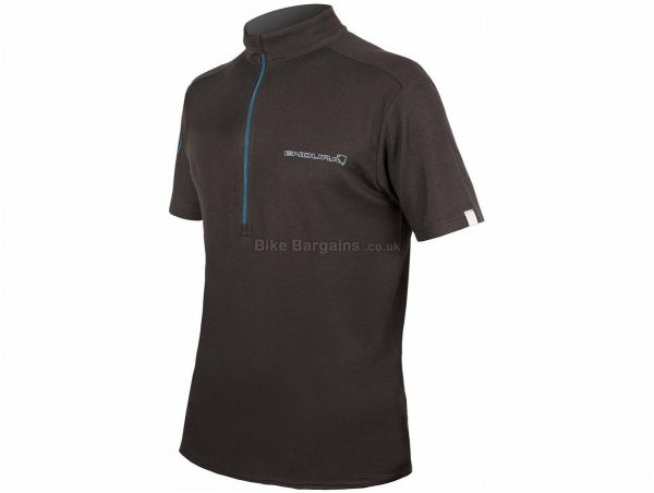 Endura SingleTrack Merino Short Sleeve Jersey S, Black, Short Sleeve, Men's, Polyester, Coolmax, Wool & Merino