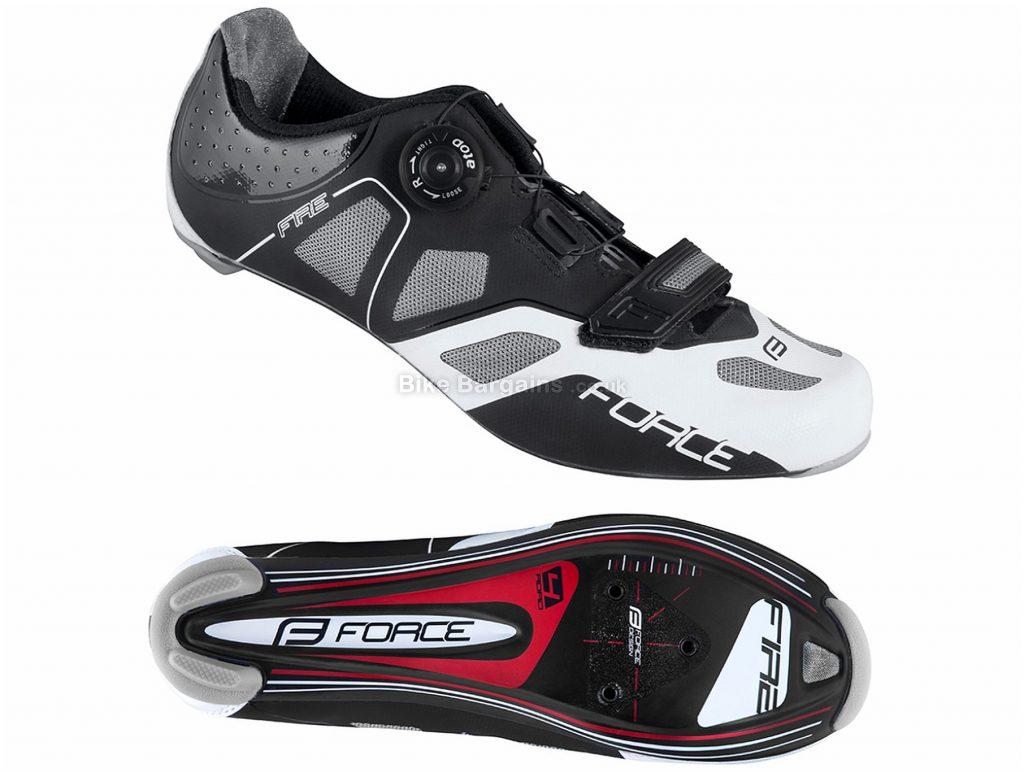 Force Fire Carbon Road Shoes 40, Black, White, Carbon Sole, Boa, Velcro