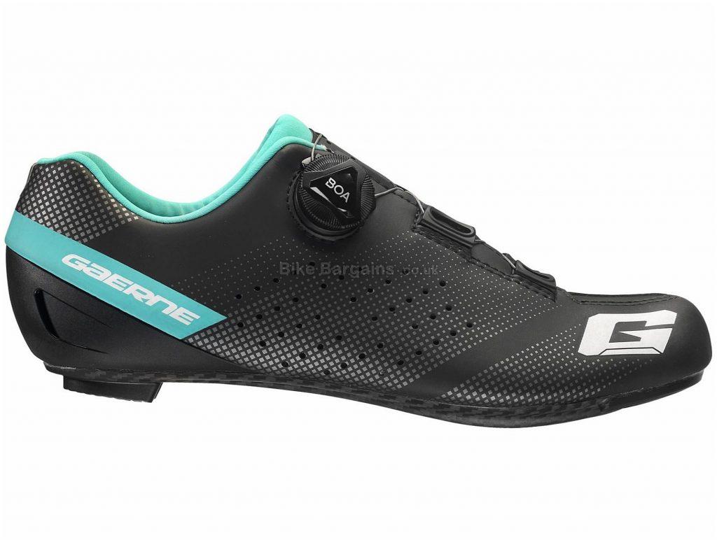 Gaerne Ladies Carbon Tornado Road Shoes 41, Black, Turquoise, Boa Fastening, Ladies, Carbon