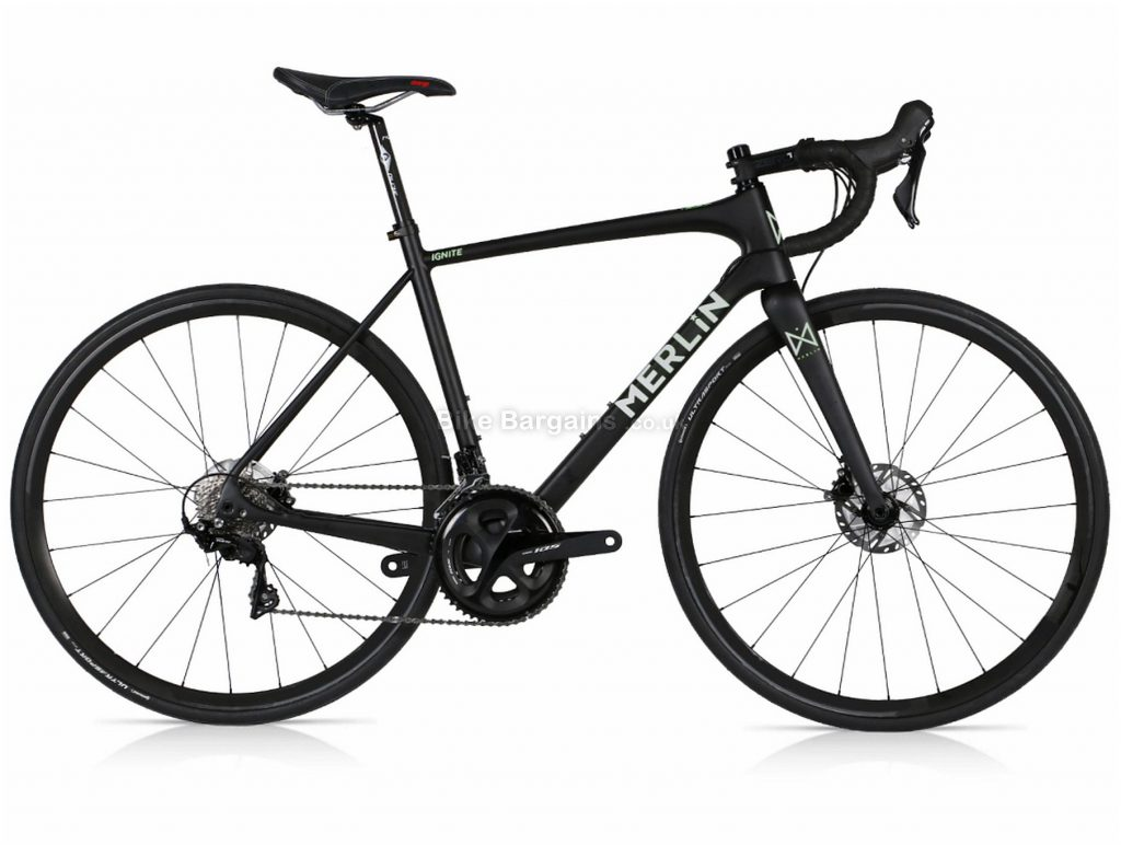 Merlin Ignite 105 Disc Carbon Road Bike M, Black, Silver, 700c, Disc Brakes, Double Chainring, 11 Speed, Carbon Frame