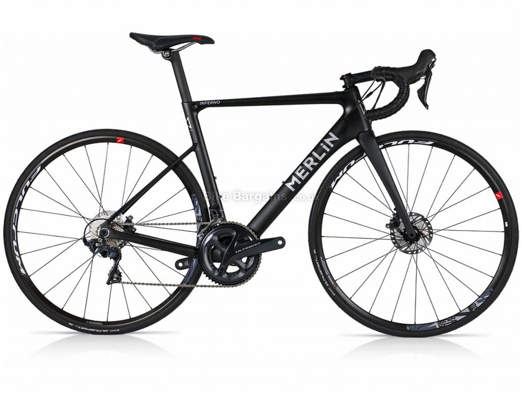 Merlin Inferno 105 Disc Carbon Road Bike M, Black, Yellow, Silver, Carbon Frame, 22 Speed, Disc Brakes, Double Chainring, 700c wheels