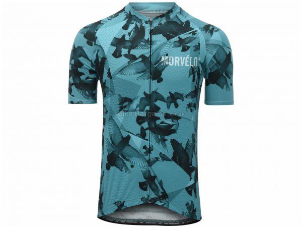 Morvelo Columbidae Short Sleeve Jersey L, Turquoise, Short Sleeve, Men's, Polyester