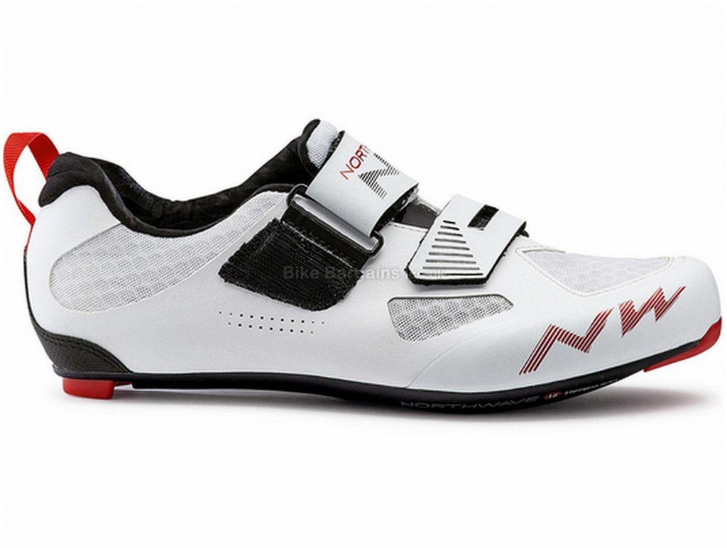 Northwave Tribute 2 Carbon Triathlon Shoes 39, White, Black, Red, Velcro Fastening, Carbon