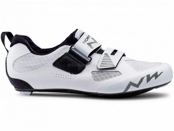 Northwave Tribute 2 Triathlon Shoes 38,47, White, Black, Velcro Fastening, Nylon