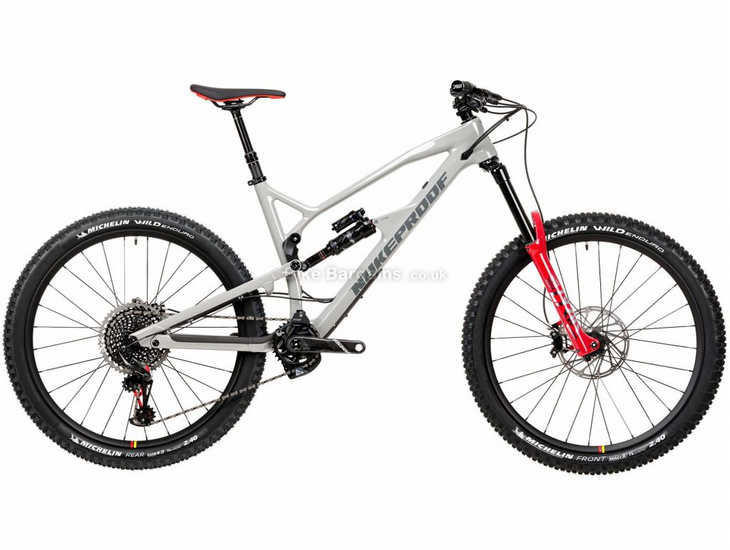 "Nukeproof Mega 275 RS XO1 Eagle Carbon Full Suspension Mountain Bike 2020 XL, Grey, Black, Red, Carbon Frame, 12 Speed, 27.5"" Wheels, Single Chainring, Disc Brakes"
