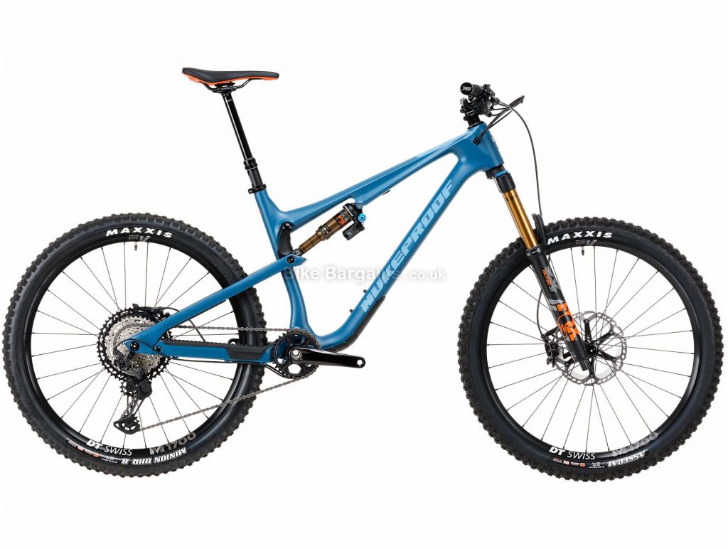 "Nukeproof Reactor 275 Factory XT Carbon Full Suspension Mountain Bike 2020 XL, Blue, Carbon Frame, 12 Speed, 27.5"" Wheels, Single Chainring, Disc Brakes"