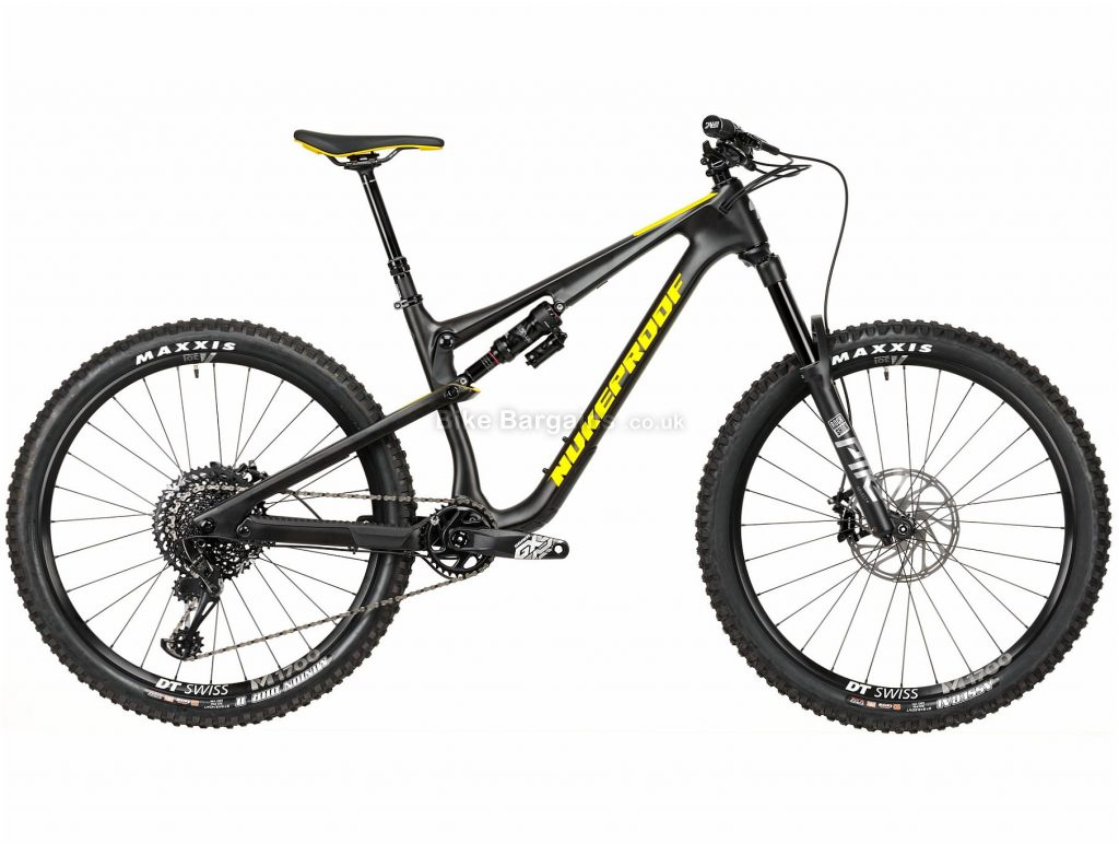 "Nukeproof Reactor 275 Pro GX Eagle Carbon Full Suspension Mountain Bike 2020 XL, Black, Yellow, Carbon Frame, 12 Speed, 27.5"" Wheels, Single Chainring, Disc Brakes"