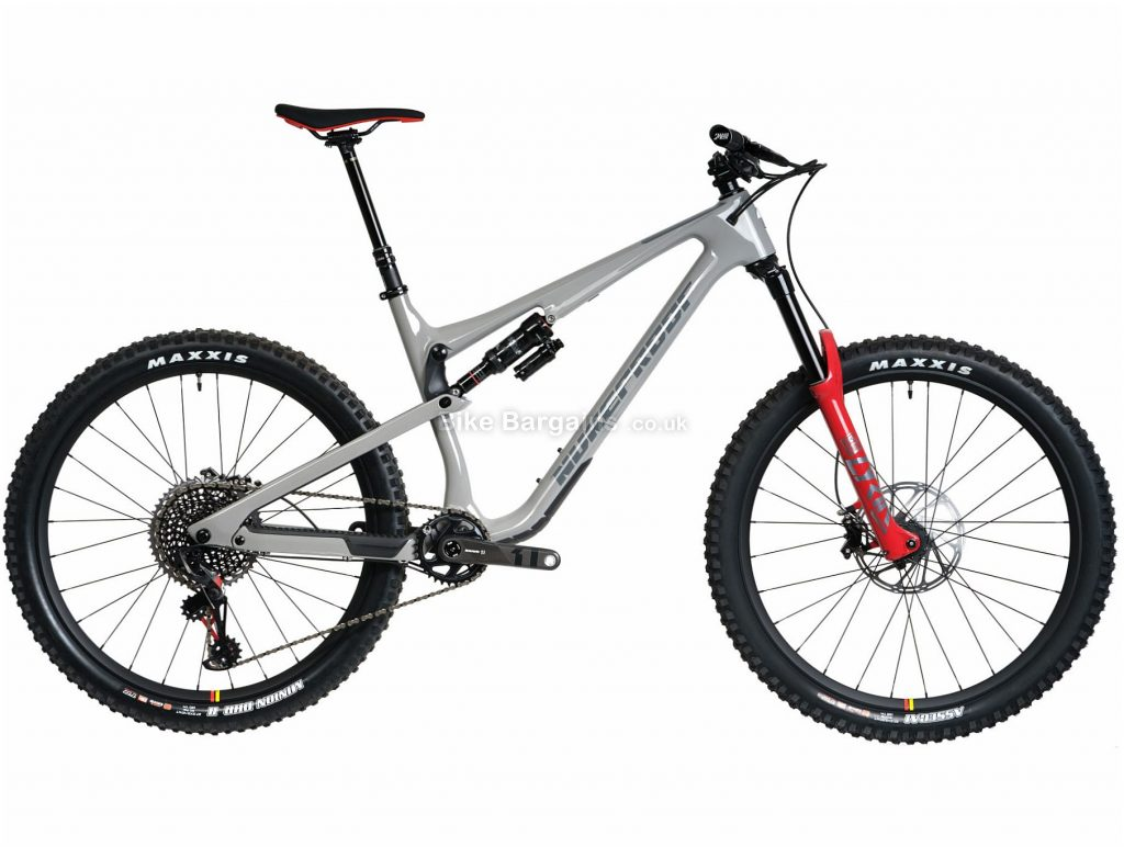 "Nukeproof Reactor 275 RS EAGLE Carbon Full Suspension Mountain Bike 2020 XL, Grey, Red, Black, Carbon Frame, 12 Speed, 27.5"" Wheels, Single Chainring, Disc Brakes"