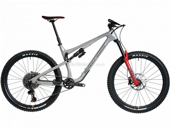 """Nukeproof Reactor 275 RS EAGLE Carbon Full Suspension Mountain Bike 2020 XL, Grey, Red, Black, Carbon Frame, 12 Speed, 27.5"""" Wheels, Single Chainring, Disc Brakes"""