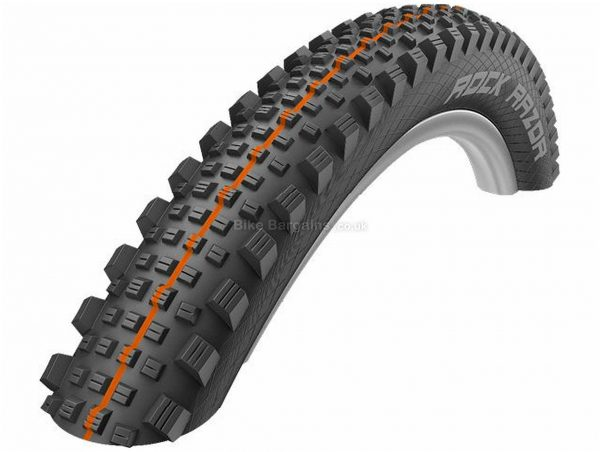 "Schwalbe Rock Razor Addix SuperGravity Folding MTB Tyre 27.5"", 2.35"", Black, Orange, 965g, Kevlar, Rubber"