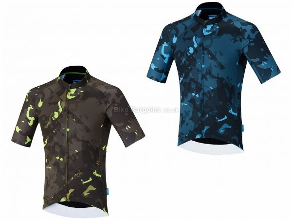 Shimano Breakaway Short Sleeve Jersey L, Blue, Green, Short Sleeve, Polyester