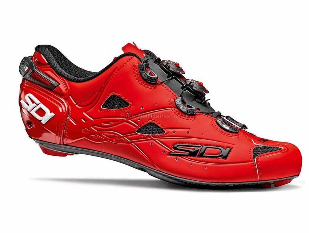 Sidi Shot Matt Road Shoes 43, Red, Boa Fastening, Carbon