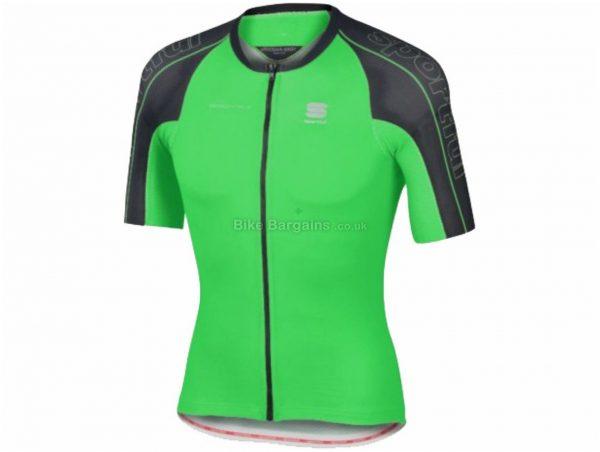 Sportful BodyFit Speedskin Short Sleeve Jersey L, Green, Black, Short Sleeve, Polyester, Elastane, 133g