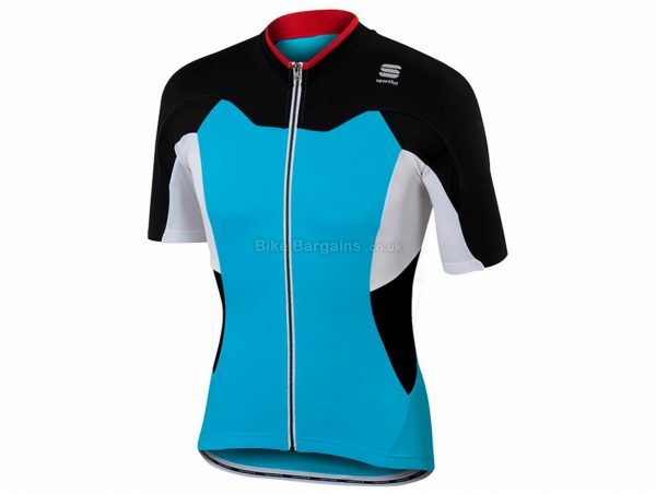 Sportful Crank Short Sleeve Jersey S, Blue, Red, Black, White, Short Sleeve, Men's, Polyester