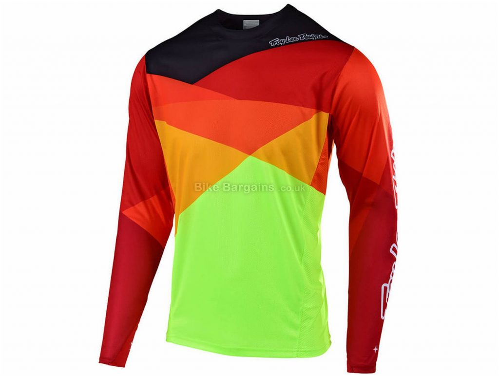 Troy Lee Designs Sprint Jet Long Sleeve MTB Jersey 2019 L, Yellow, Green, Blue, Long Sleeve, Polyester