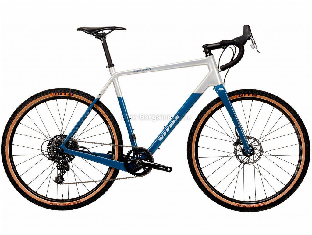 "Vitus Substance CRS-1 Adventure Gravel Bike 2020 XL, White, Blue, Carbon Frame, 11 Speed, 27.5"" Wheels, Single Chainring, Disc Brakes"