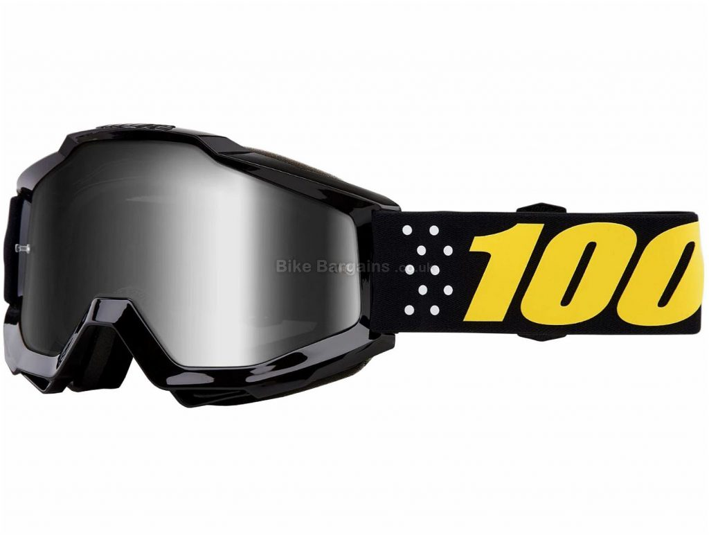 100% Accuri Mirror Goggles One Size, Black, Blue, Turquoise, Pink, Yellow, Polycarbonate