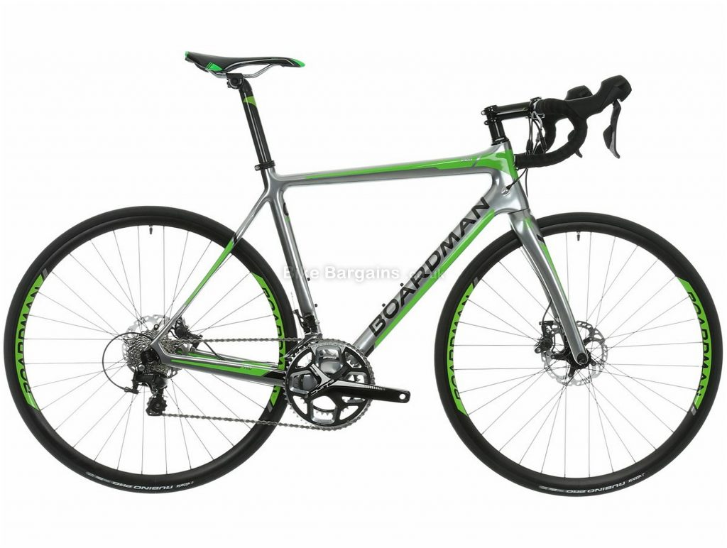 Boardman Road Pro Carbon Road Bike 2015 XS, Silver, Green, Carbon Frame, 22 Speed, 700c Wheels, Disc Brakes