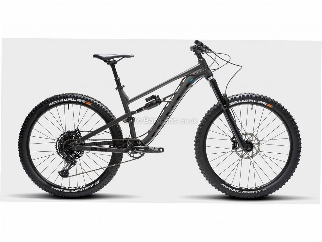 "Calibre Triple B Pro Alloy Full Suspension Mountain Bike S,M,L, Grey, Black, Single Speed, Alloy Frame, Men's, 27.5"" wheels, Full Suspension, Disc, Single Chainring"