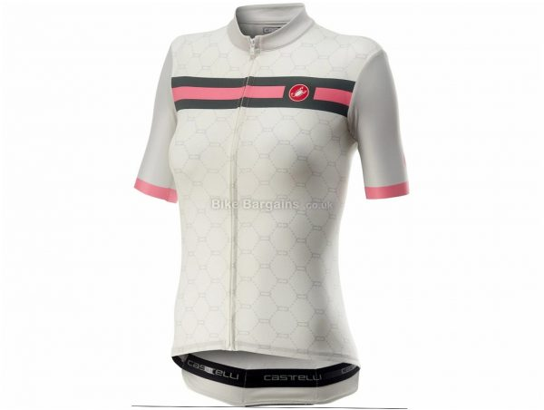 Castelli Atelier Ladies Short Sleeve Jersey M, White, Pink, Ladies, Short Sleeve, Weighs 121g, Polyester, Elastane