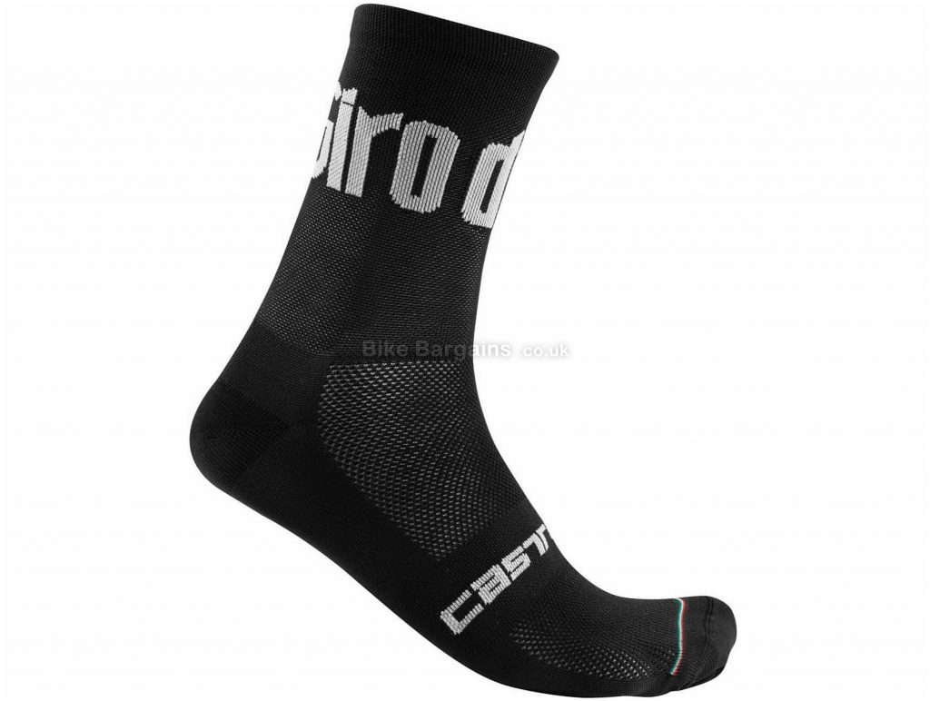 Castelli Giro 13 Socks S,M,L,XL,XXL, White - Black are extra, Unisex, Polyester