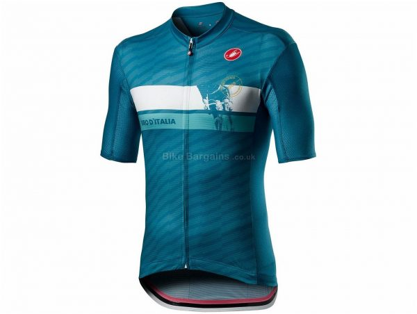 Castelli Giro Cima Short Sleeve Jersey L, Blue, Men's, Short Sleeve, Weighs 150g, Polyester, Elastane
