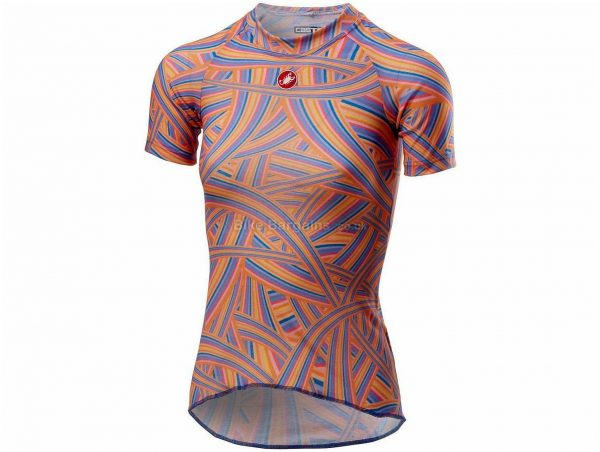 Castelli Prosecco R Ladies Short Sleeve Base Layer L, Orange, Blue, Ladies, Short Sleeve, Polyester, Elastane