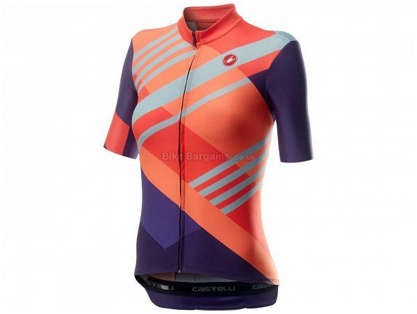 Castelli Talento Ladies Short Sleeve Jersey L, Purple, Orange, Blue, Ladies, Short Sleeve, Weighs 122g, Polyester, Elastane