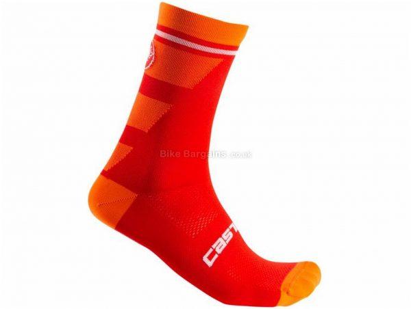 Castelli Trofeo 15 Socks S,M, Red, Blue, Black, White, Unisex, Polyester, Elastane