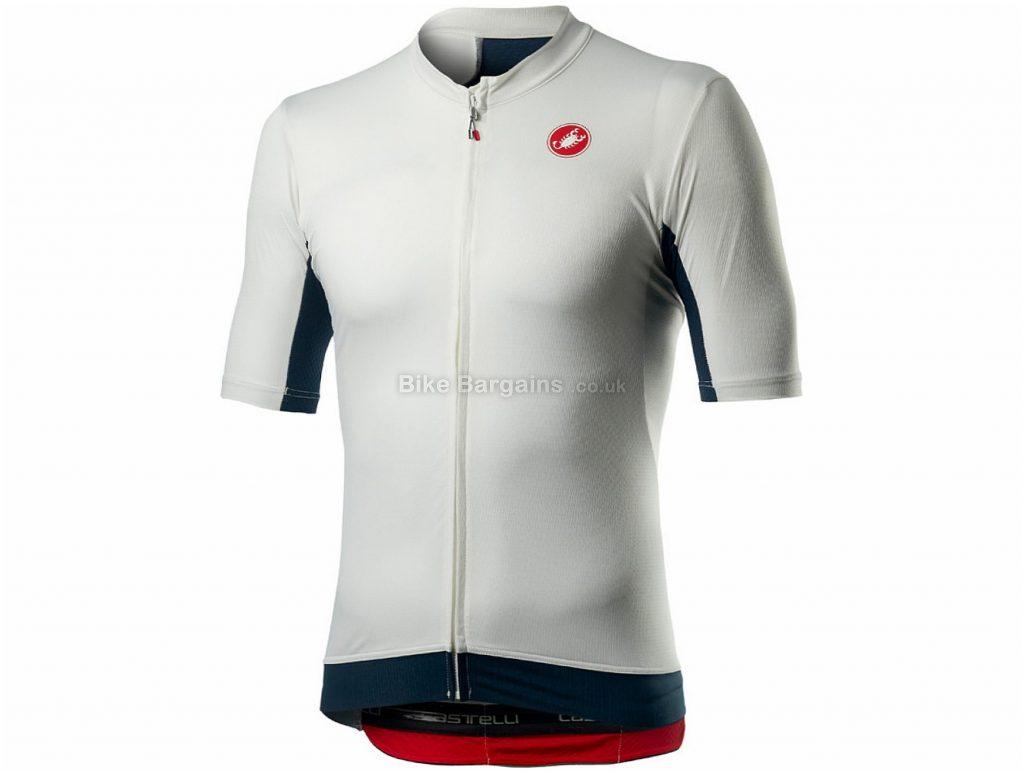 Castelli Vantaggio Short Sleeve Jersey XS,S, White, Black, Blue, Grey, Men's, Short Sleeve, Weighs 167g, Polyester, Elastane