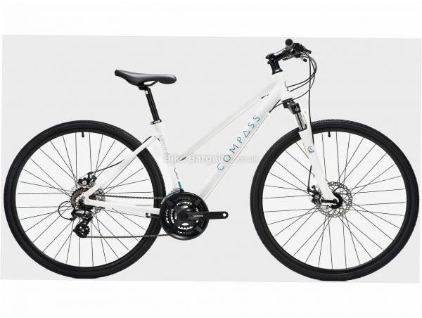 Compass Contour Ladies Alloy City Bike S,M, White, 21 Speed, Alloy Frame, Ladies, 700c wheels, Hardtail, Suspension, Disc, Triple Chainring, 14.5kg
