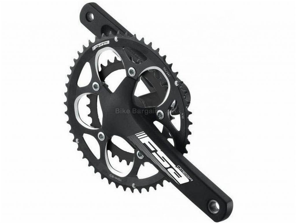 FSA Omega 9 Speed Chainset 165mm, Black,  9 Speed, Double Chainring, Road & Gravel usage, 871g