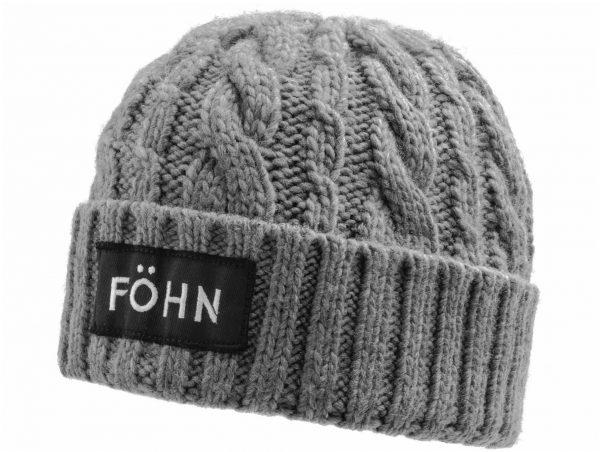 Fohn Logo Beanie One Size, Grey, Unisex, Acrylic