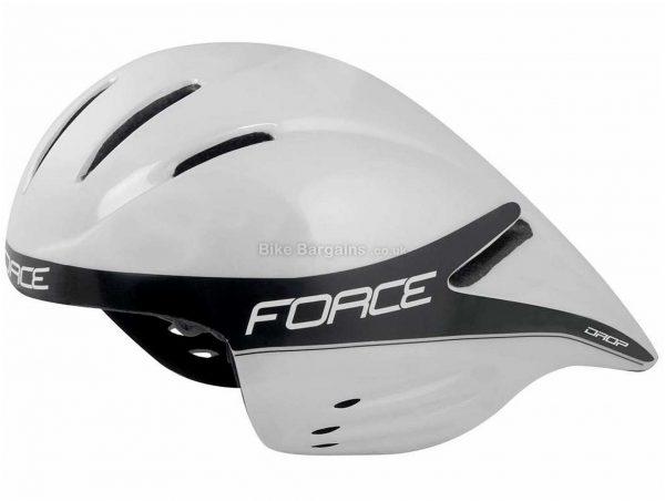 Force Drop TT Aero Helmet M, White, Black, 375g, 9 Vents, Polycarbonate
